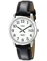 Timex Men's 2H281 Easy Reader Black Leather Strap Silver-Tone Case Watch