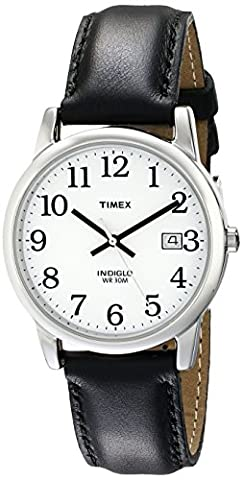 Timex Men's T2H281 Easy Reader Black Leather Strap Watch (Leather Round Watch)
