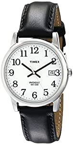 Timex Men's T2H281 Easy Reader Silver-Tone Watch with Black Leather Band