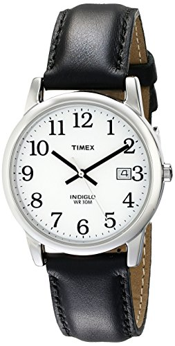 Timex Men's T2H281 Easy Reader Black Leather Strap ()