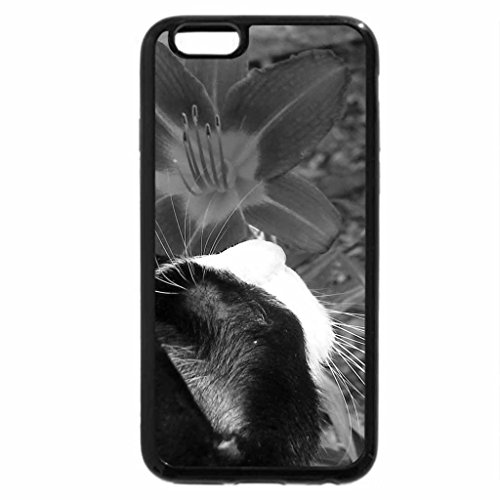 iPhone 6S Plus Case, iPhone 6 Plus Case (Black & White) - Kitteh smells the roses