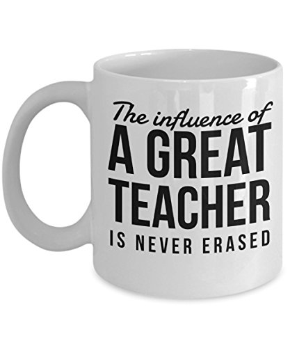 Christian Teacher Gifts - The Influence of a Great Teacher is Never Erased Mug, Thank You Appreciation Gift for Sunday School Teachers, 11 Oz Coffee C ()