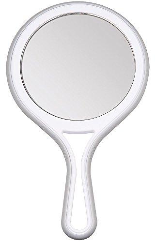 Kosmetex Handspiegel mit 5-fach und 2-fach Vergrößerung, 2 Spiegel-Flächen, Kosmetik-Spiegel