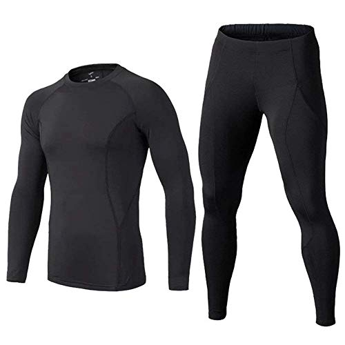 BUYKUD Kids' Boys Long Sleeve Athletic Base Layer Compression Underwear Shirt & Tights Set Black ()
