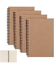 CYH 4 Pakketten Spiraalvormige Notebook A5 Kraft Cover Notepad, Blanco papier Schetsboek 100 pagina's/ 50 Vellen Memo Planner Schetsblok, Perfect voor Memo's, Schilderij en Graffiti - 8,25 x 5,55 inch