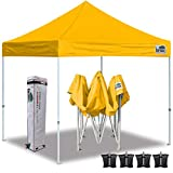 Eurmax 10'x10' Ez Pop Up Canopy Tent Commercial Instant Canopies with Heavy Duty Roller Bag,Bonus 4 Sand Weights Bags(Gold)