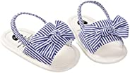 Newborn Baby Girls Bowknot Summer Sandals Striped Infant Stripe Rubber Sole First Walking Shoes