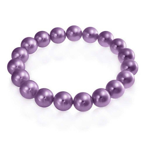 Bling Jewelry Fashion Simple Ball Stackable Single Strand Stretch Lavender Purple Simulated Pearl Bracelet for Women for Teen 10MM