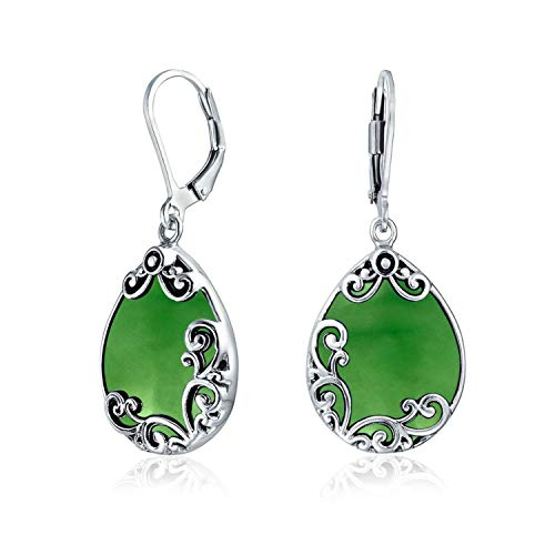 Bali Style Teardrop Scroll Ornate Filigree Scroll Dyed Jade Leverback Dangle Earrings For Women 925 Sterling ()