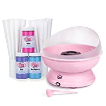 Cotton Candy Express Brand Party Kit | Pink Cotton Candy Machine with Three [11oz] Jars of Floss Sugar & 50 Paper Cones | Flavors - Cherry, Grape, Blue Raspberry