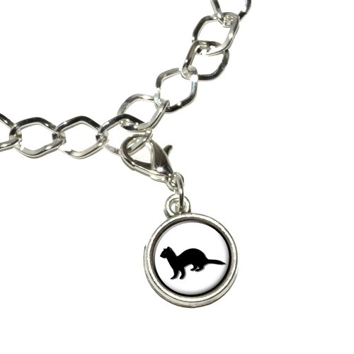 Ferret - Weasel Silver Plated Bracelet with Antiqued Charm