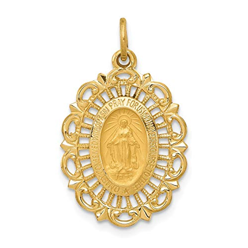 14k Yellow Gold Miraculous Medal Pendant Charm Necklace Religious Fine Jewelry For Women Gift Set