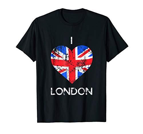 (I Love London T-shirt Distressed Union Jack heart Tee)