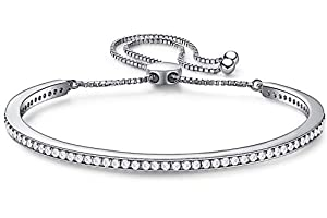 CDE S925 Sterling Silver Bangle Bracelet with 73 CZ Diamonds Half Bar Adjustable Chain Bracelets for Women Girls