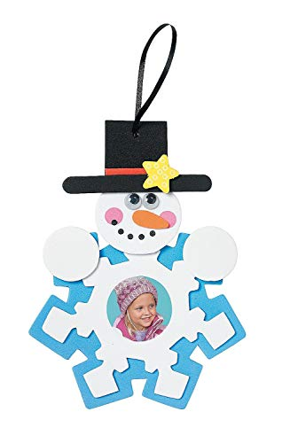 Snowman Photo Frame foam Ornament Craft Kit - Crafts for Kids Photo Crafts-makes 12 -