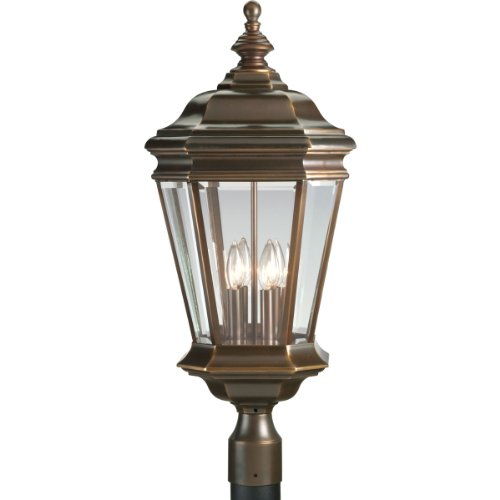 Progress Lighting P5474-108 4-Light Crawford Cast Post Mount Lantern, Oil Rubbed Bronze