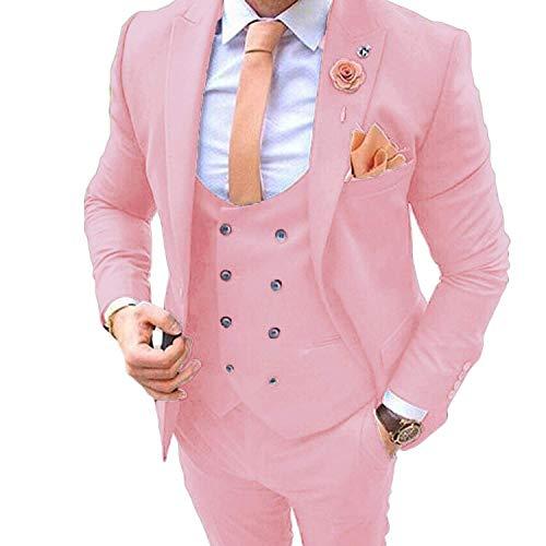 Men's Suits for Wedding Slim Fit 3 Pieces Suit Groom Tuxedos Blazer Tux Vest Trousers Prom Suits Pink ()