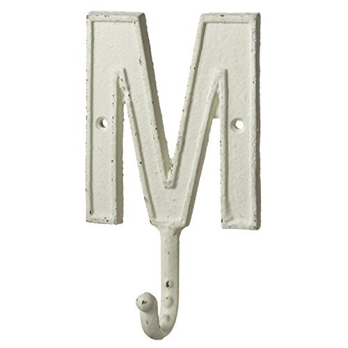 Monogram Letter M Single Wall Hook Painted Cast Iron 7.5 Inch