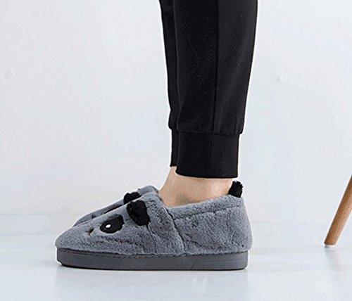 Pantofole Da Uomo Casa Pantofole Da Uomo Inverno Fumetto Foderato In Peluche Antiscivolo Inverno Caldo Casa Scarpe Stivali Grigi