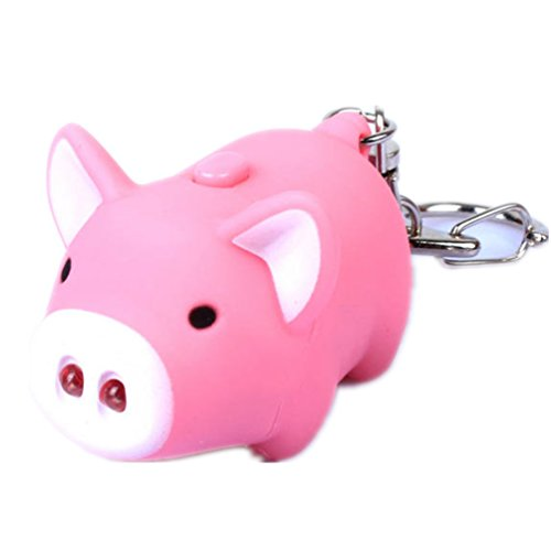 1 PCS Cute Pig Led Keychains Flashlight Sound Rings Creative Kids Toys Pig Cartoon Sound Light Key chains For Child-Random Color