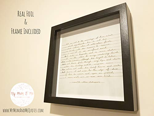 Shakespeare Sonnet 116 - Handmade Calligraphy Framed Quotation - Let Me Not To The Marriage Of True Minds.