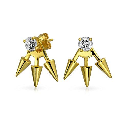 - Goth Triple Spike Point Arrow Cubic Zirconia Jacket Stud Earrings For Women 14K Gold Plated 925 Sterling Silver