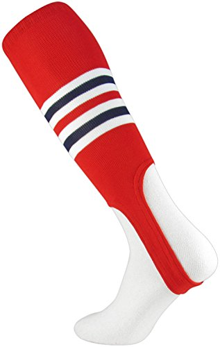 TCK Sports Striped 7 Baseball/Softball Stirrup Socks, Scarlet/White/Navy