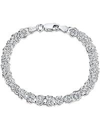 Amberta 925 Sterling Silver 2 mm Rhombus Curb Chain Bracelet Size 7