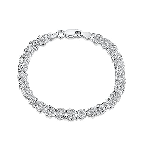 Amberta 925 Sterling Silver 4.7 mm Byzantine Chain Bracelet Length 8