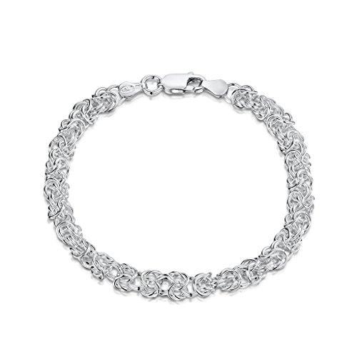 "Amberta 925 Sterling Silver 4.7 mm Byzantine Chain Bracelet Length 8"" inch / 20 cm (8)"