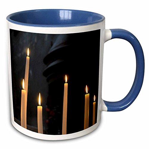 3dRose Danita Delimont - France - France, Burgundy, Nievre. Votive candles, Nevers Cathedral - 15oz Two-Tone Blue Mug -