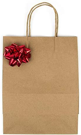 [100 Bags] 8 X 4.5 X 10.5 Brown Kraft Paper Gift Bags Bulk with Handles. Ideal for Shopping, Packaging, Retail, Party, Craft, Gifts, Wedding, Recycled, Business, Goody and Merchandise Bag