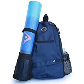 AURORAE Yoga Mat Carrier Bag. Multi Purpose Cross-Body Sling Back Pack. Mat Sold Separately.
