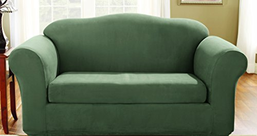 Sure Fit Stretch Suede - Loveseat Slipcover  - Dark Green (SF36473)