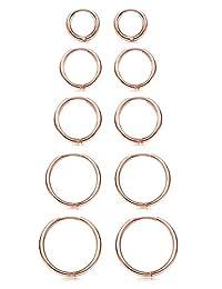 Besteel 5 Pairs Stainless Steel Small Hoop Earrings Set for Men Women Hypoallergenic Endless Huggie Cartilage Earring 8MM-16MM