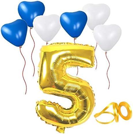 誕生日パーティー 飾り付けセット ゴールド38センチ 数字(5) 天然ゴム ハート型風船セット(bs-105)