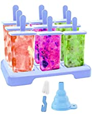 Popsicle Molds 9 Cavities Ice Popsicle Makers Mold with Stand Removable Tray Holders Durable with Cleaning Brushes (Blue)