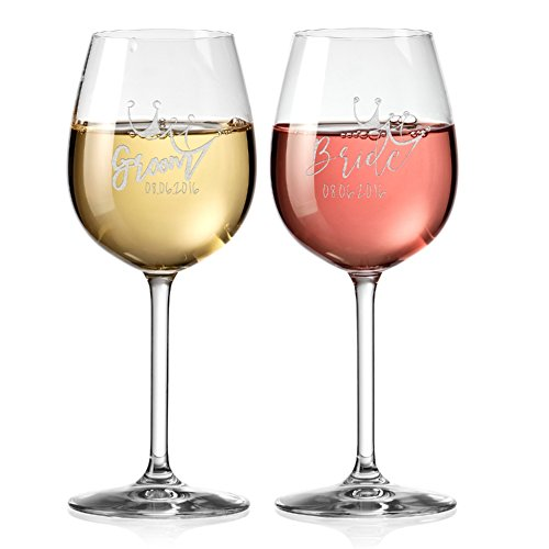 Set of 2, Personalized Large Round Bowl Wine Glass 20 oz., C