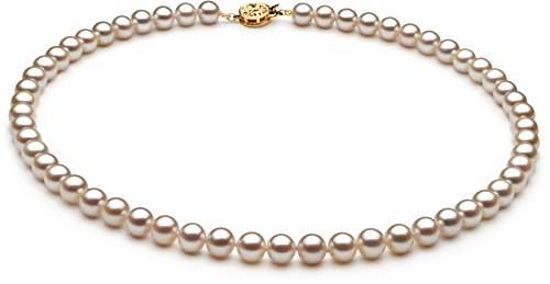 PearlsOnly White 6-7mm AAAA Quality Freshwater Cultured Pearl Necklace-16 in Chocker length by PearlsOnly