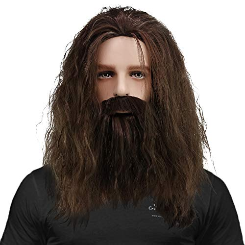 CrazyCatCos Rubeus Hagrid Cosplay Wig Long Curly Brown Hair and Beard Halloween Costume Wig]()