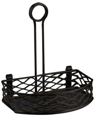 American Metalcraft SRBNB1 Semi-Round Wire Birdnest Condiment Rack Holder, Wrought Iron, Black