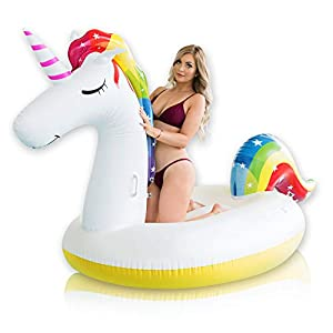 Giant Inflatable Unicorn Pool Float – Rapid Inflate and Deflate, Cup Holder, Safety Grab Handles, CE and SGS Certified – Rideable Party Fun for Adults and Kids at the Lake or Beach – Quality Checked