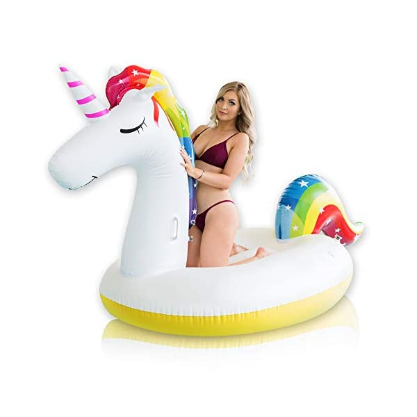 Giant Inflatable Unicorn Pool Float – Rapid Inflate and Deflate, Cup Holder, Safety Grab Handles, CE and SGS Certified… 3