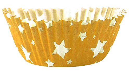 Arant Yellow Star Standard Cupcake Liners. Colorful Paper, Ideal for Holidays and Parties, 50 Pack. by Arant