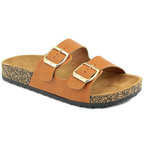 omen's Comfort Low Easy Slip On Sandal – Casual Cork Bottom Platform Sandal Flat – Open Toe Slide Shoe, TPS60-00004 Tan Pu Size 7 ()