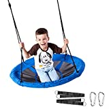 Hanging Swing Seat,100cm Diameter Waterproof Oxford Cloth Dish Swing Easy to Install for Children,Blue