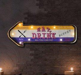 Cartel de chapa LED Placa metal tin sign retro nostálgico ...