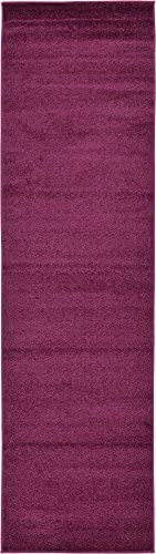 Unique Loom Solid Basic Collection Casual Plush Rich Colors Violet Runner Rug 2 7 x 9 10