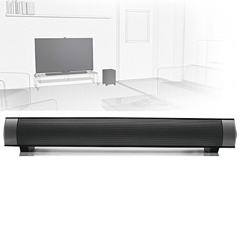 ELlight Bluetooth Small Sound Bar 3.0 Channel 15.7in 10W(2X5W) Wireless Subwoofer Stereo Speaker,Black