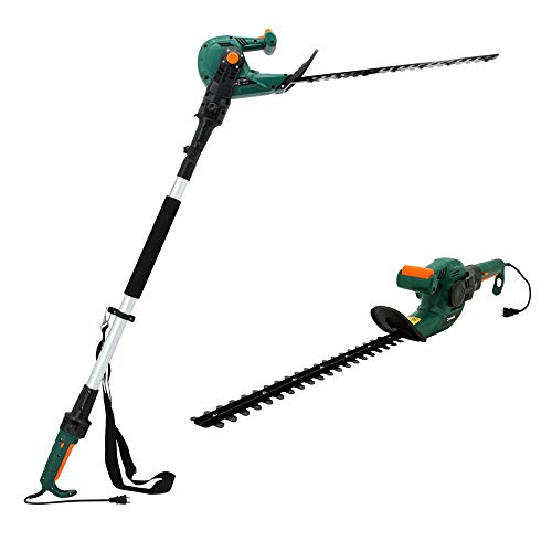 """DOEWORKS Electric Corded 3 in 1 Extended Hedge Trimmer on Pole with Rotating Handle, 20"""" Dual-Action Steel Blade"""